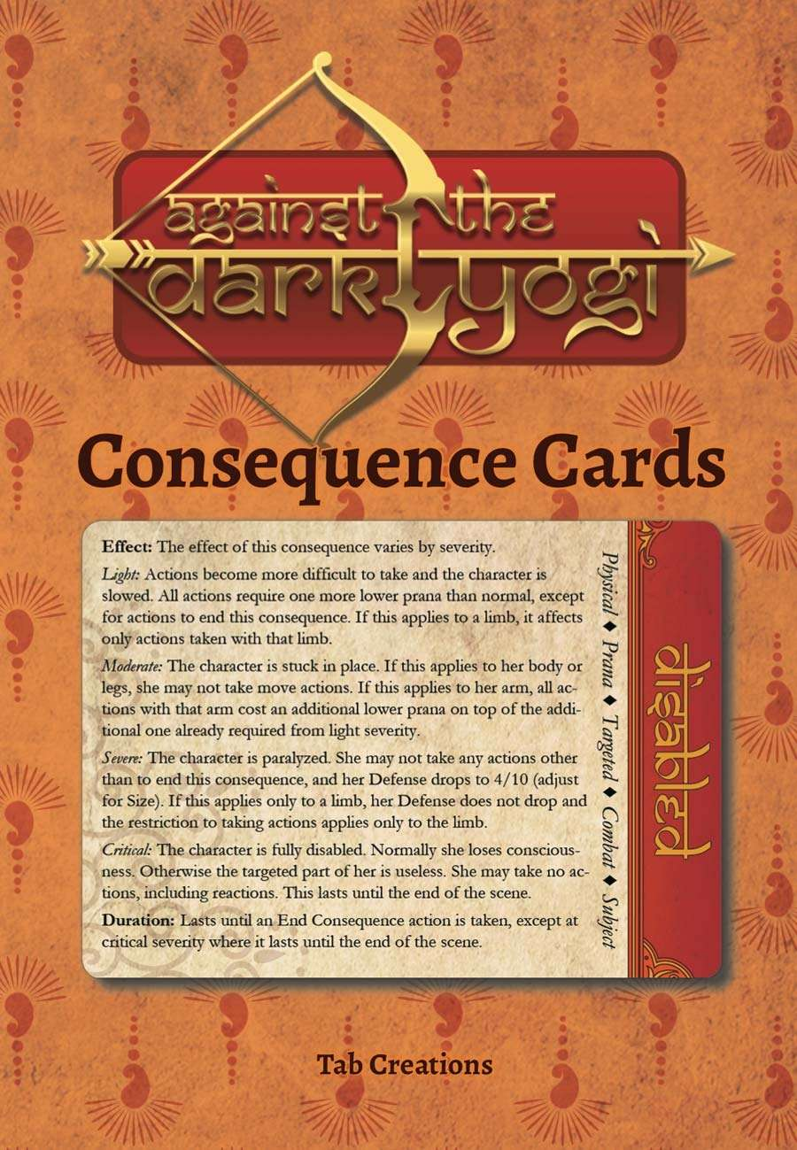 Against the Dark Yogi: Consequence Cards